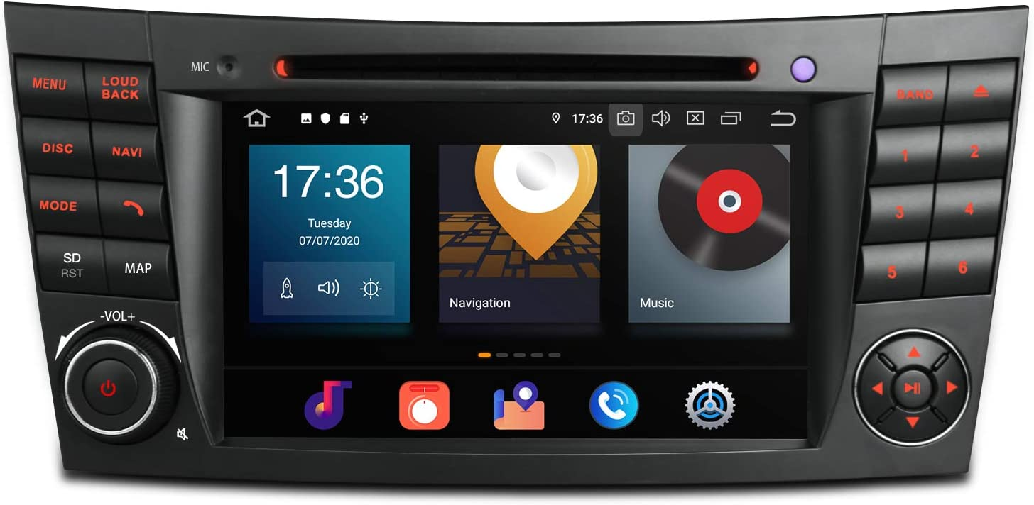 """XTRONS Android 10 Double Din Car Stereo Radio DVD Player Octa Core 4G RAM 64G ROM GPS Navigation 7"""" Touch Screen Head Unit Support Car Auto Play OBD Backup Camera for Mercedes Benz E-Class W211 W219"""