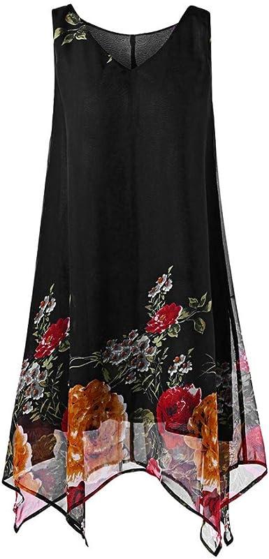 Han Shi Womens Summer Plus Size V-Neck Sleeveless Loose Cross Chiffon Dress Gown