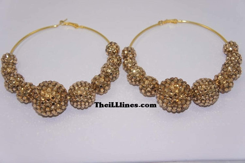 07f80cc2e8af1 Amazon.com : Gold Swarovski Crystal Basketball Wives Inspired Hoop ...