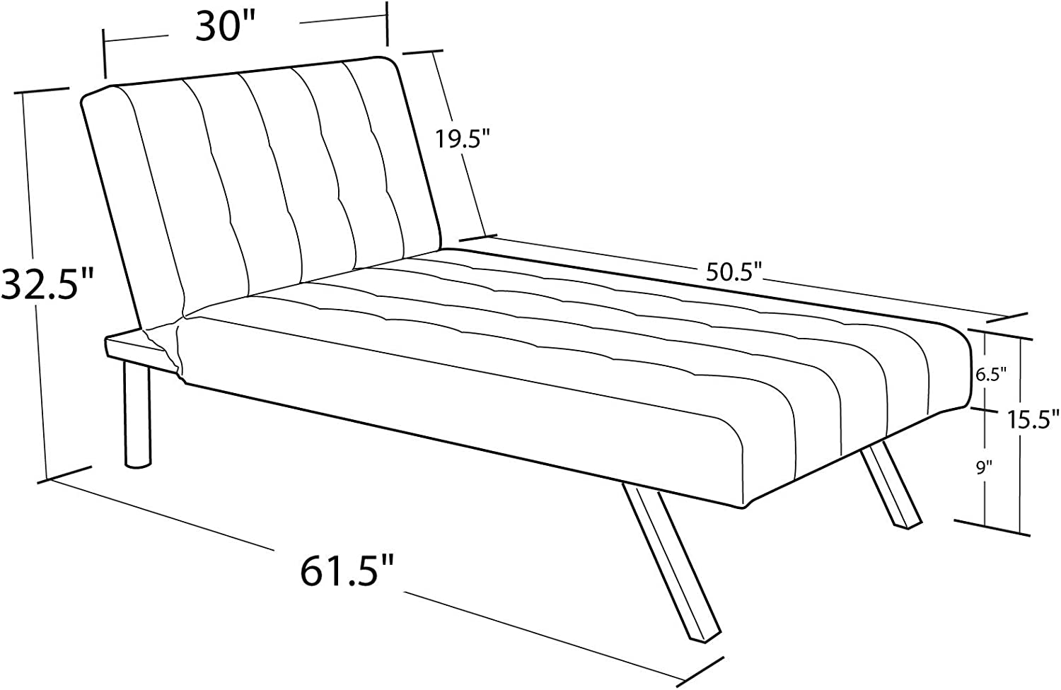 Chaise Indoor Lounge Sofa Chair Modern Small White Bedroom