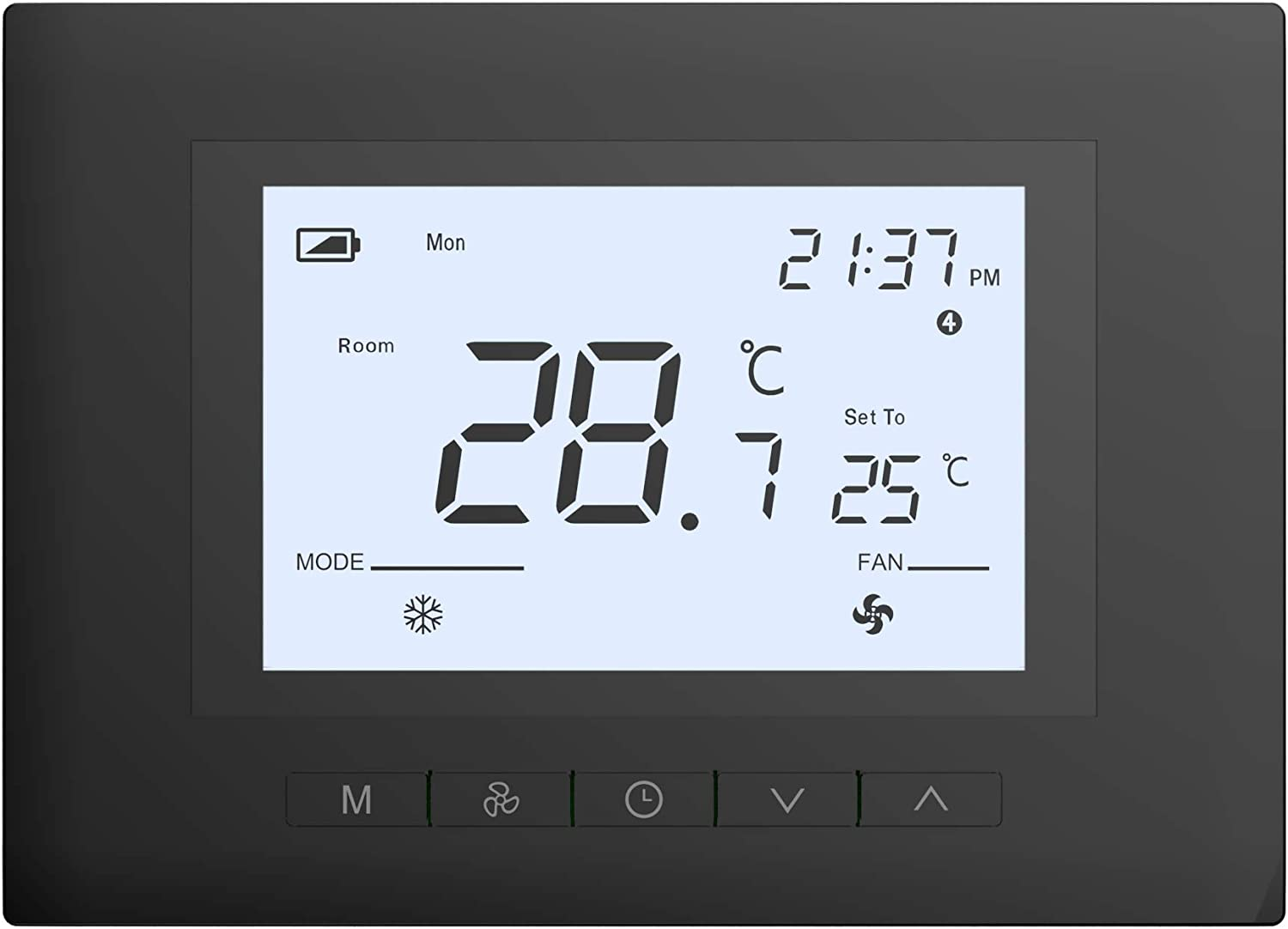 Ubipol Digital 7 Days Programmable Manual Home Thermostat Works with almost all system, Battery power or C wire,Black
