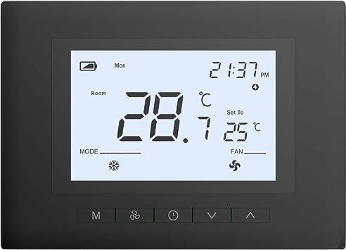Amazon Com Ubipol Termostato Digital Programable De 7 Días Para El Hogar Funciona Con Casi Todos Los Sistemas Batería O Cable C Color Negro Home Improvement