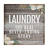 Cheap Sincere Surroundings Perfect Pallets 14″ x 14″ Wood Sign, Laundry: The real never-ending story