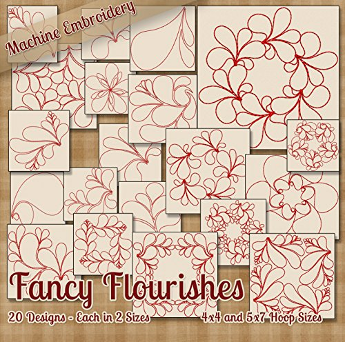 (Fancy Flourishes Redwork Embroidery Machine Designs on CD - 20 Beautiful Outline Style Patterns - 2 Sizes Each - Multiformat CD)