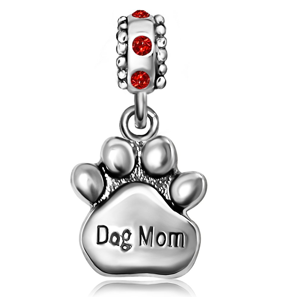 JMQJewelry Dog Mom Love Heart 2 Colors Charms Beads For Bracelets JMQA043-07