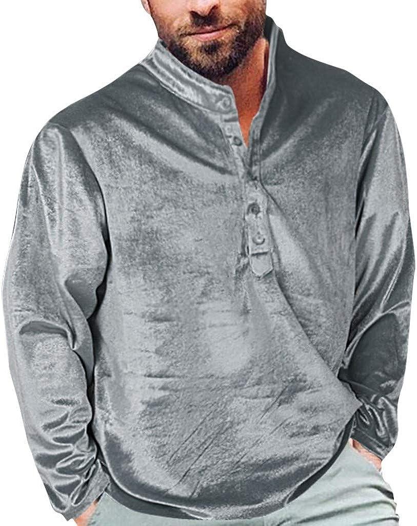 Huaya - Blusa de manga larga de terciopelo dorado para hombre ...
