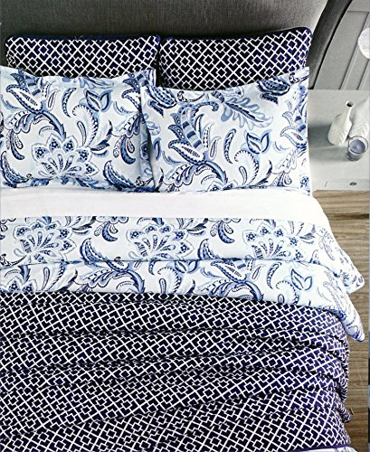 (Envogue Bedding 3 Piece Full / Queen Duvet Cover Set Exotic Jacobean Floral Paisley Print Pattern in Shades of Blue and White)