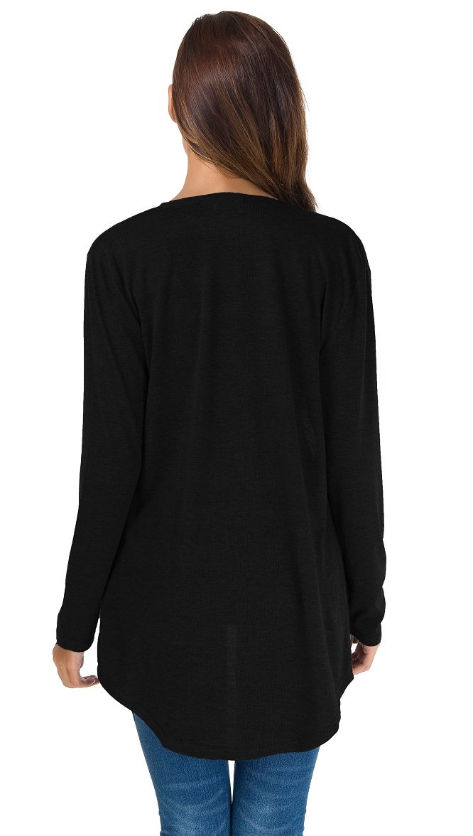 TownCat Women's Loose Casual Long Sleeved Open Front Breathable Cardigans with Pocket (Black, M) by TownCat (Image #5)