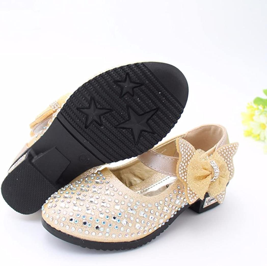 Jinjiu Children Girls Bowknot Bling Rhinestone Party Mary Jane Shoes