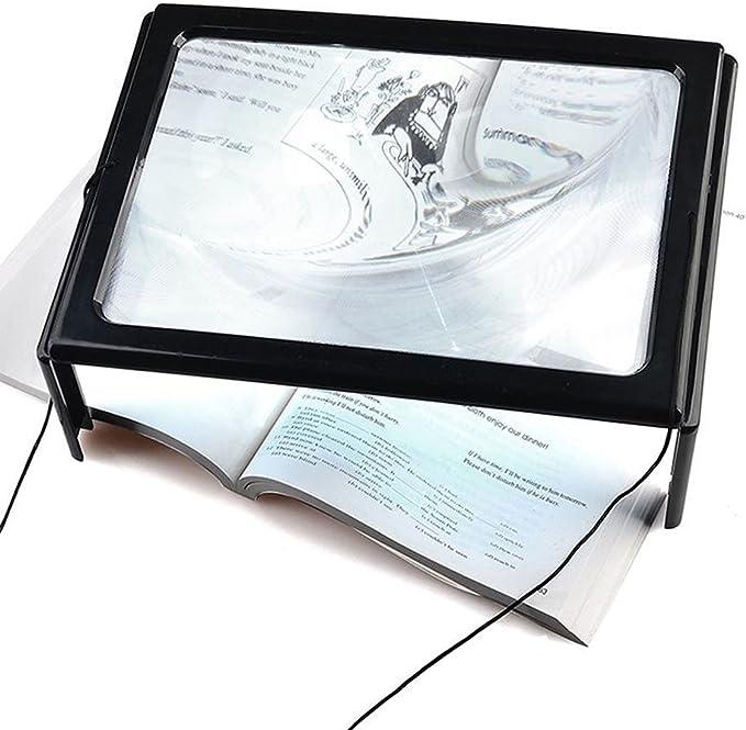 Lupa de sobremesa de cristal LED de lectura para personas mayores, con gran lente de pecho, rectangular, lectura de página completa con escritorio rectangular 3 veces: Amazon.es: Oficina y papelería