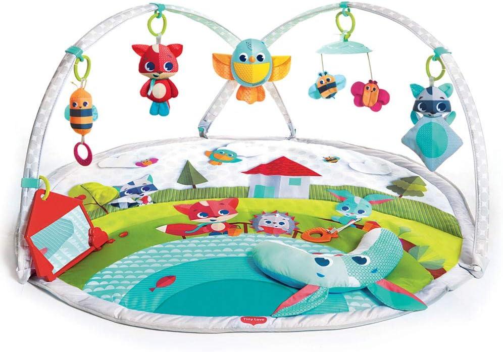 Tiny Love Dynamic Gymini Gimnasio musical de actividades con juguetes electrónicos, grabadora con luces y música, alfombra bebé alcochada grande 110 x 90 cm, Arcos ajustables moviles, Meadow days