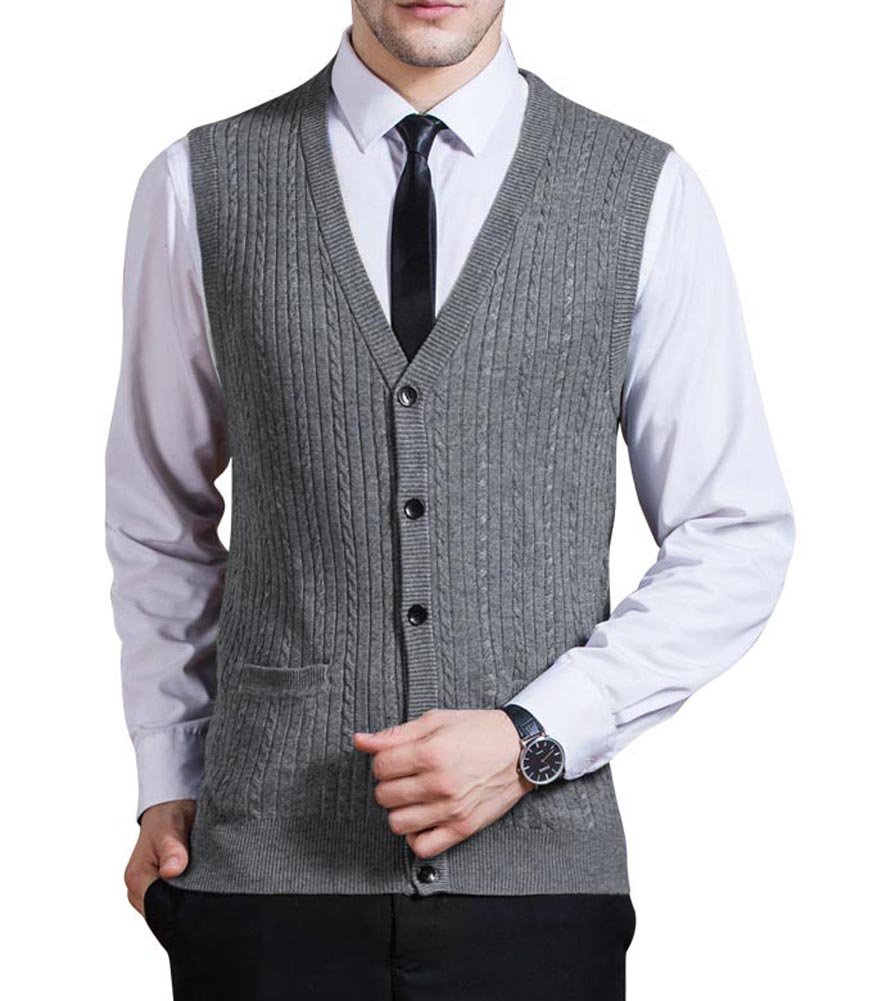 Zicac Men's Business Solid Button Knitwear Sweater Vest Sleeveless Knitted Waistcoat (S, Gray)
