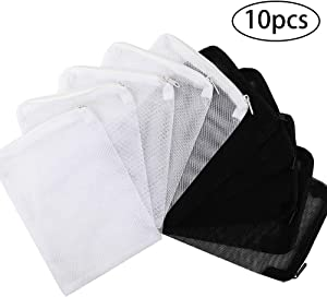 DEPEPE 10pcs Aquarium Filter Bags (5pcs Black + 5pcs White) for Activated Carbon, Biospheres, Ceramic Rings, etc. Clean and Recyclable