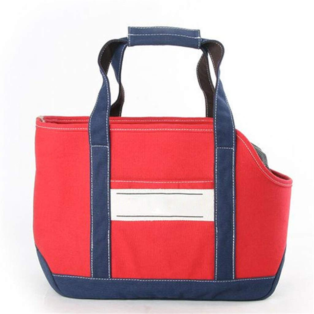 Red Lzrzbh Pet Backpack, Cat Bag Out Portable Shoulder Bag Canvas Bag Teddy Dog Cat Backpack (color   Red)