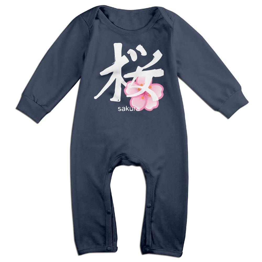 Mri-le1 Toddler Baby Boy Girl Bodysuits Japanese Sakura Kanji Infant Long Sleeve Romper Jumpsuit