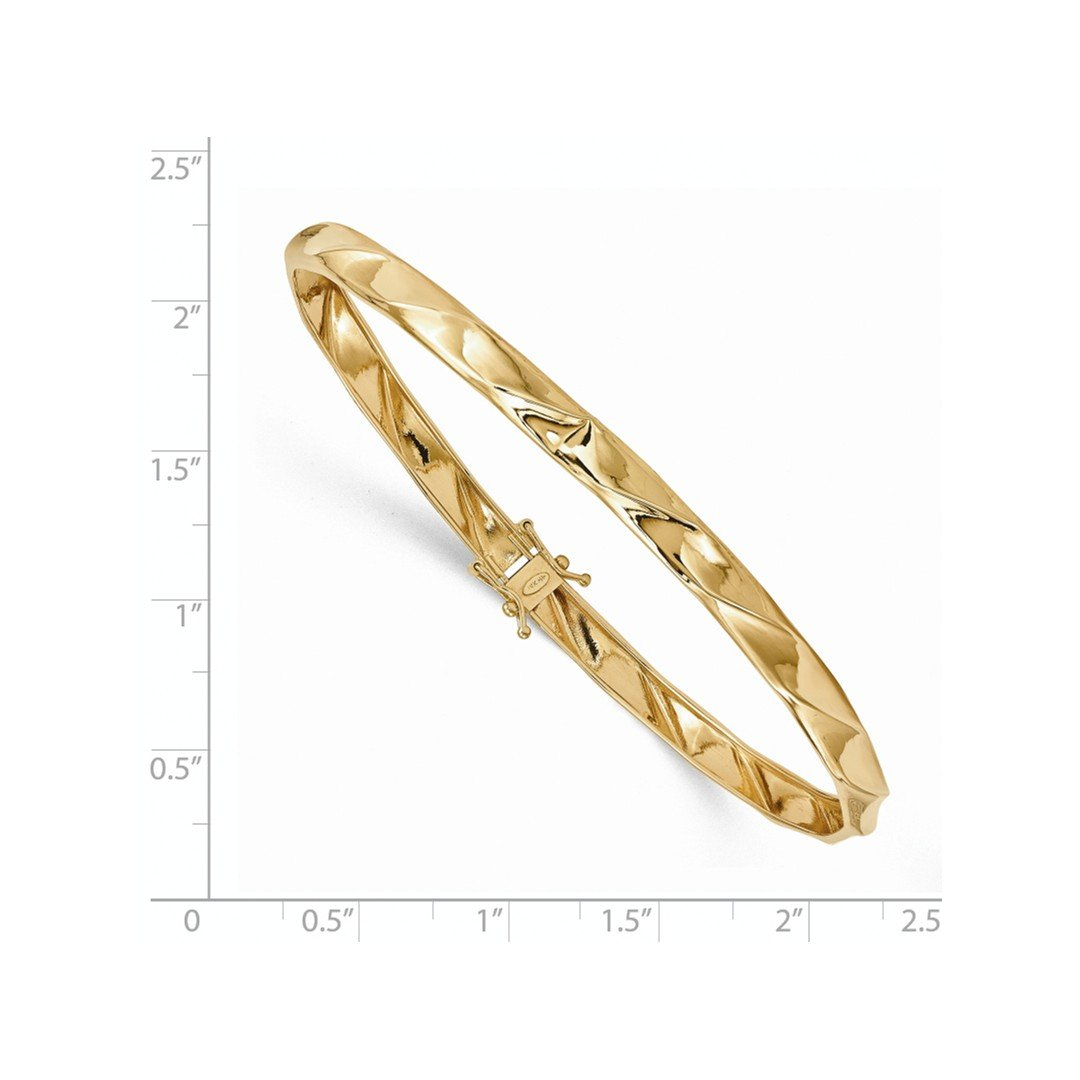 ICE CARATS 14k Yellow Gold Twisted Bangle Bracelet Cuff Expandable Stackable Hinged Fine Jewelry Gift Set For Women Heart by ICE CARATS (Image #2)