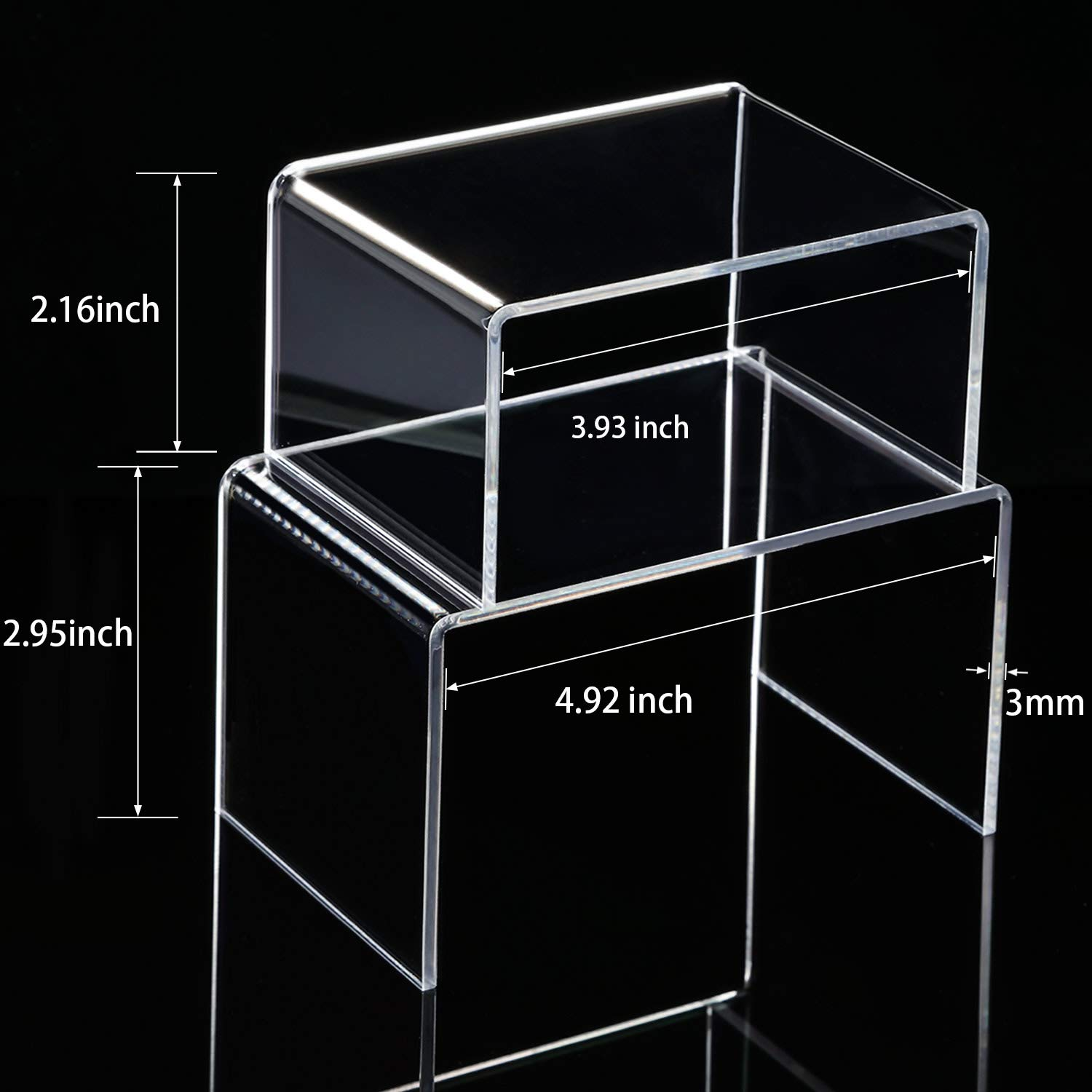 Chuangdi 4 Pieces Clear Acrylic Display Risers, Jewelry Display Risers Showcase Fixtures, Tear Off The Protective Film Before Use (4.1 Inch and 5 Inch) by Chuangdi (Image #2)