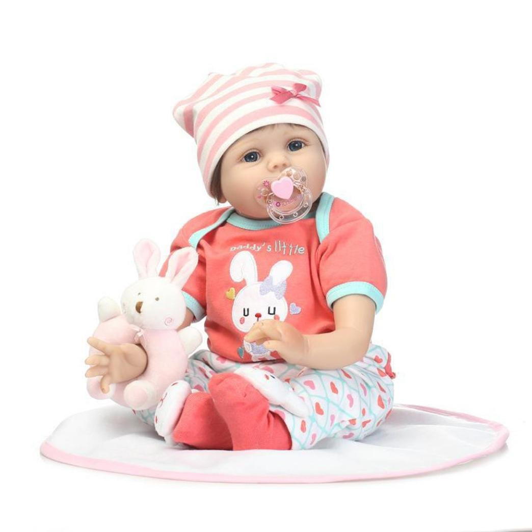 Dirance 22'' Lifelike Reborn Doll Soft Silicone Full Body Adorable Realistic Girl Playmate Doll Vinyl Reallike Handmade Newborn Baby Doll Outfits, Kids Gift for Ages 3+ (B) by Dirance (Image #1)