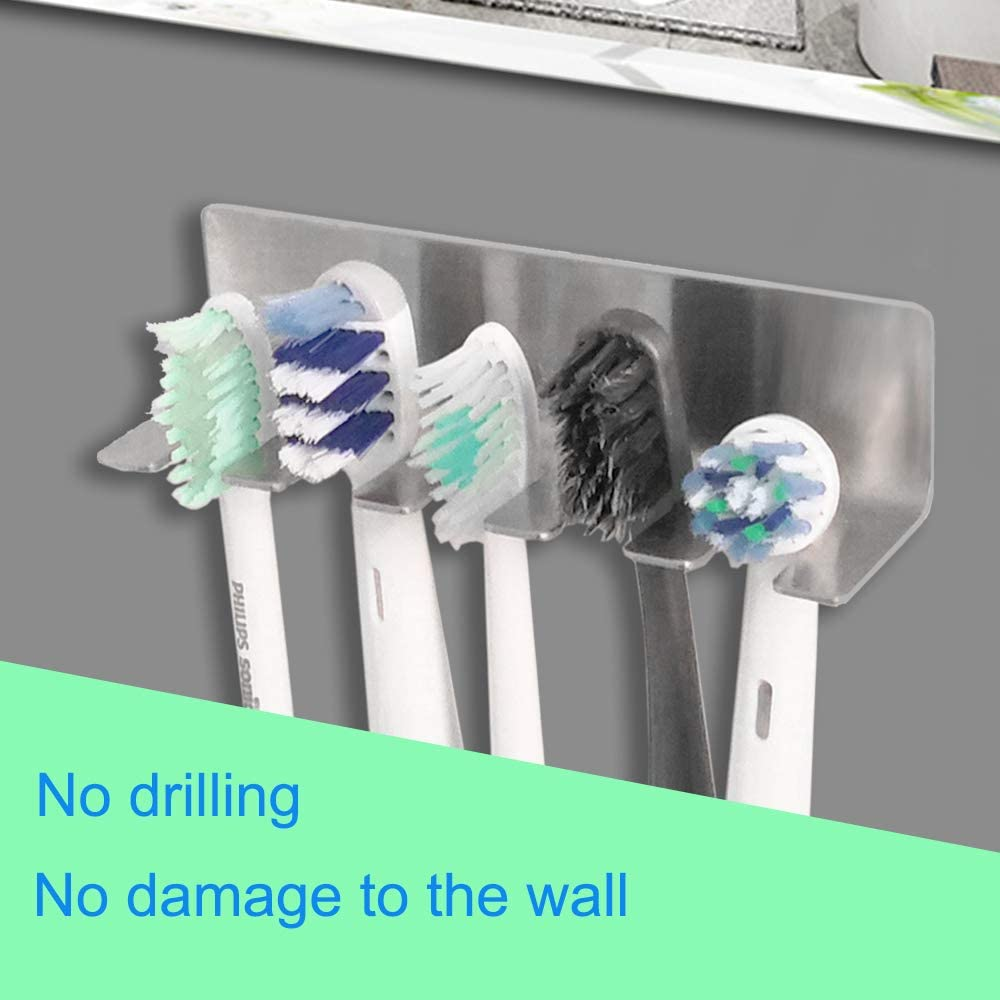 KXOYJAD Toothbrush Holder Wall Mounted Self-Adhesive Toothbrushes Holder with 5 Slots Stainless Steel Bathroom Organizer