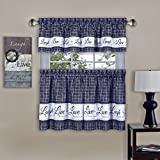 Cheap Inspire Light Filtering Window Kitchen Curtain Tier Pair and Valance Cafe Curtain Sets (Navy, 58×36)