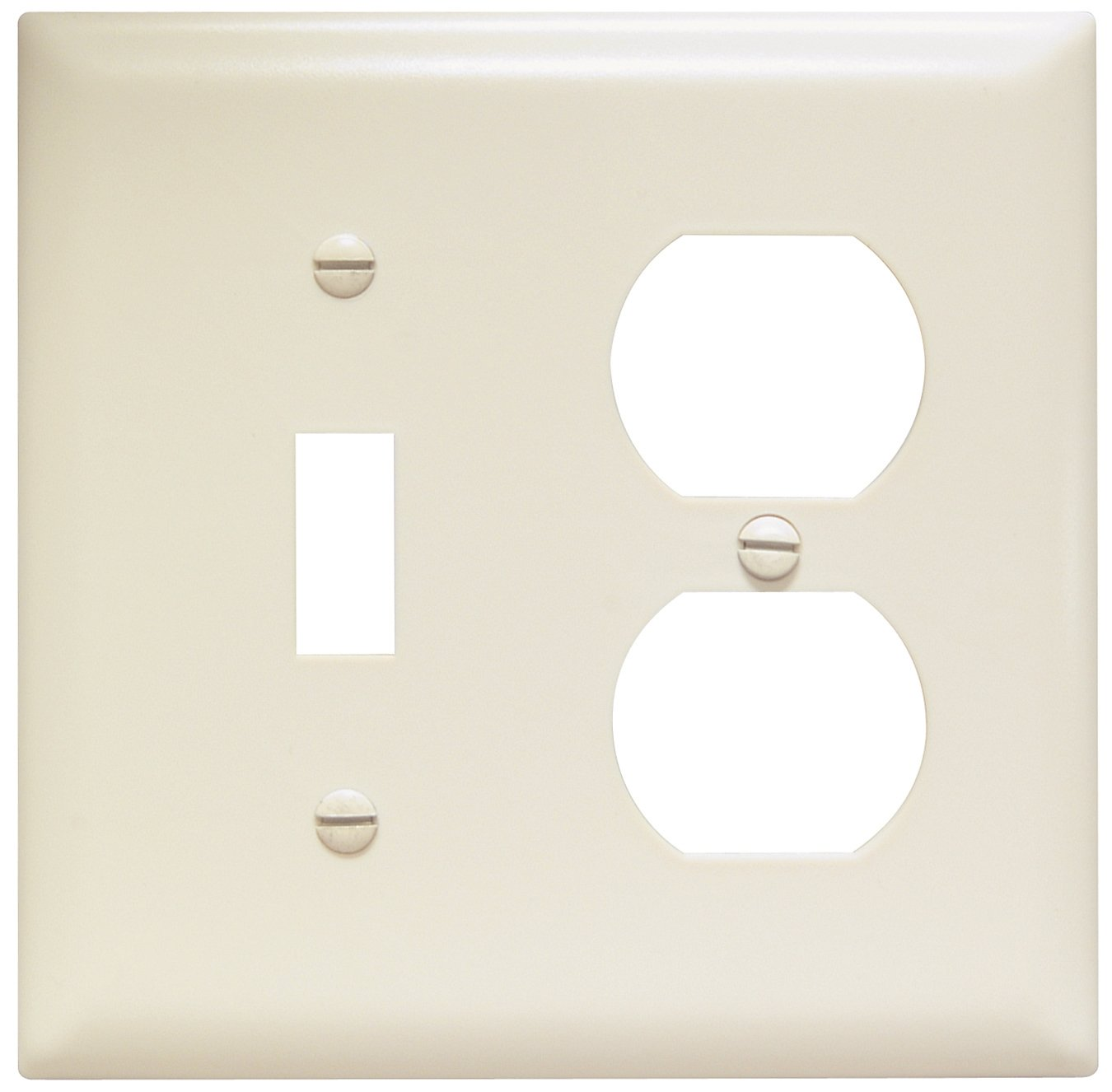 Legrand - Pass & Seymour TP18LACC12 Trade Master Nylon Combination Openings Wall Plate with One Toggle Switch and One Duplex Receptacle Opening, Two Gang, Light Almond