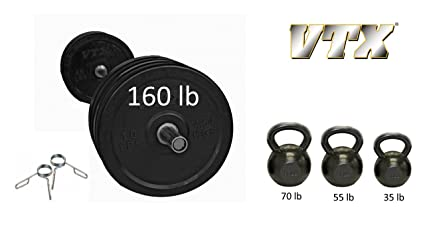 Amazon.com : home garage gym package set troy vtx bar and bumper