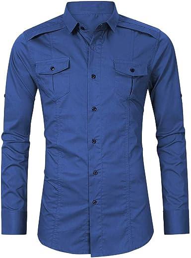 Hombre Camisas de Manga Larga Militar Vintage Camisa de Solapa Tallas Grandes Blusa de Botones Retro Tops de Trabajo Color sólido Casual Camisetas con Bolsillo Suelta Transpirable Chaqueta Gusspower: Amazon.es: Ropa y
