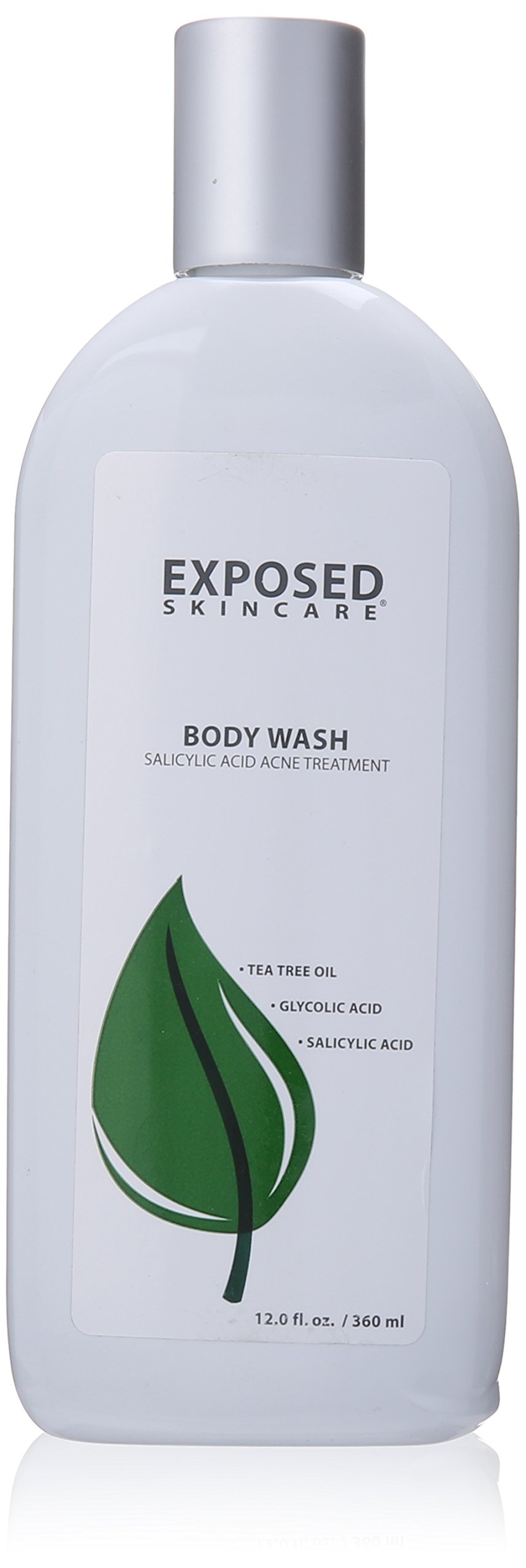 Acne Body Wash with Tea Tree Oil, Hydrated Silica and Salicylic Acid .5% Clear Your Back Acne Fast, 12 ounces by Exposed Skin Care