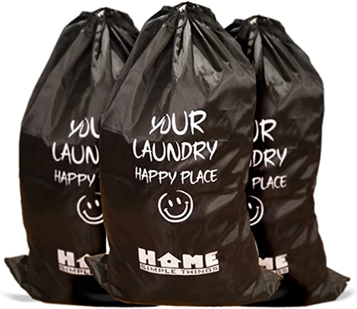 Home Simple Things 3 Pack Waterproof Laundry Bags with a Shoulder Strap, Drawstring Closure, Foldable, Perfect for Travel and Storage in a College Dorm or Family Use, College Essential