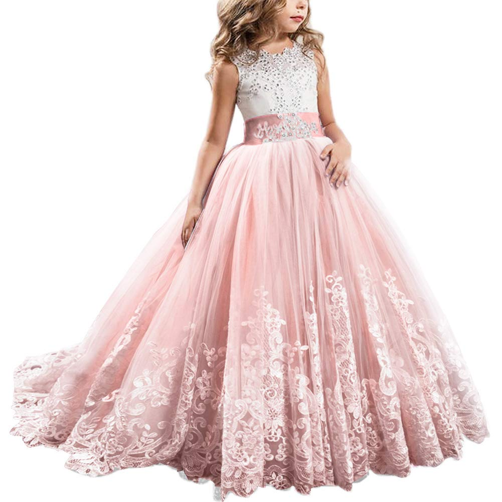 e3dcbb511601 Amazon.com: FYMNSI Flowers Girls Applique Tulle Lace Wedding Dress First  Communion Birthday Christmas Prom Ball Gown 2-13T: Clothing
