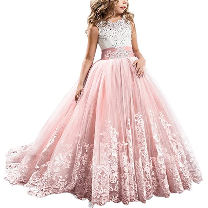Fymnsi Flowers Girls Applique Tulle Lace Wedding Dress First Communion Birthday Christmas Prom Ball Gown 2 13t