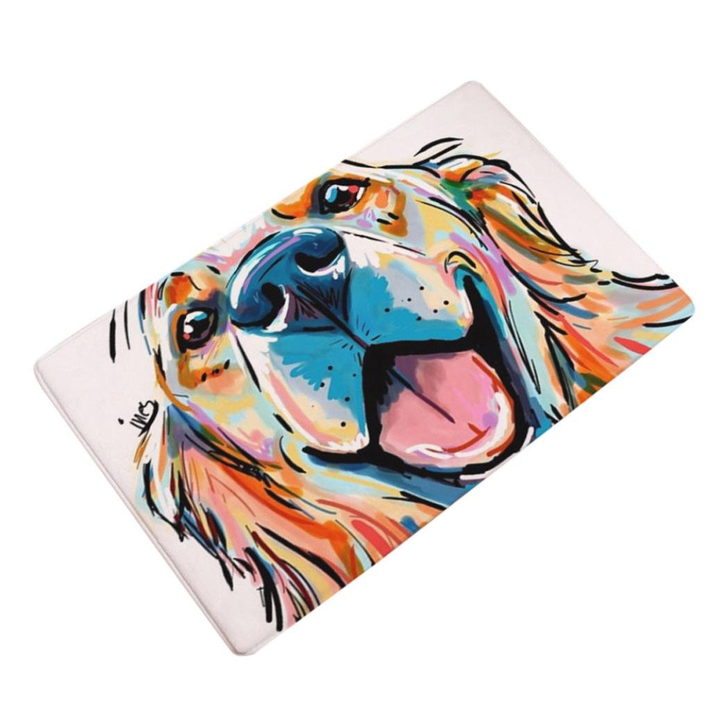 Sothread 40x60cm Soft Non-Slip Rectangle Dog Printed Carpet Mats Bath Area Rug Doormats (A) CX-021