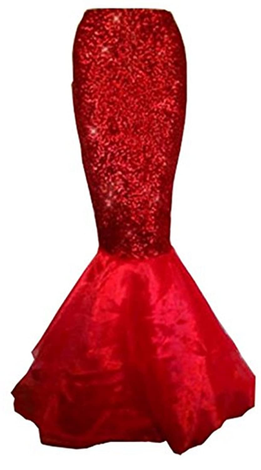 Women's Red Sequins Asymmetric Mesh Panel Mermaid Costume Skirt - DeluxeAdultCostumes.com