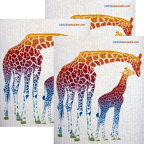 Colorful Giraffe Set of 3 each Swedish Dishcloths | ECO Friendly Absorbent Cleaning Cloth | Reusable Cleaning Wipes by SWEDEdishcloths (Image #2)