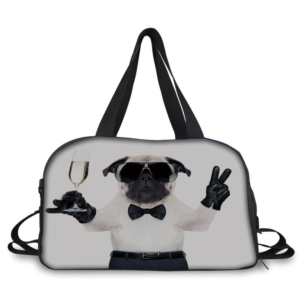 iPrint Travelling bag,Pug,Pug with Champagne Glass and Peace Sign Cool Looking Dog Celebration Animal Decorative,Black White Cream ,Personalized