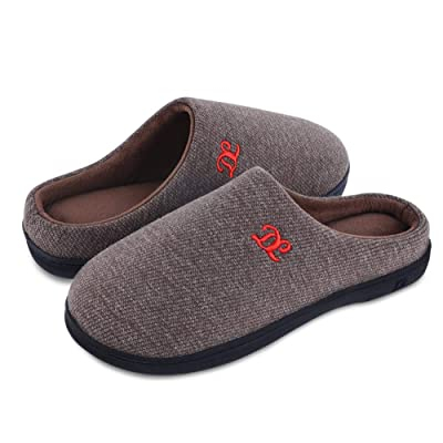 DL Men's Memory Foam Slippers Terry Lining Slip On House Slippers Indoor Outdoor Anti Slip Rubber Sole | Slippers
