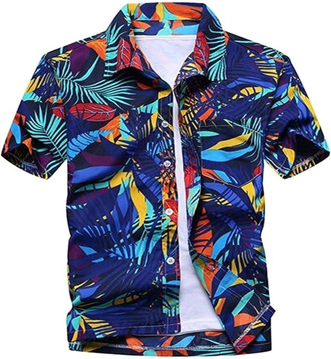 pipigo Mens Reg-Size Comfy Short Sleeve Work Office Shirt