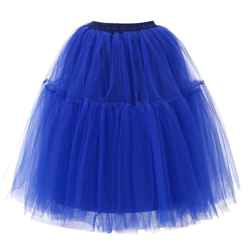 Kinrui Women's High Waist Princess Tulle Skirt Adult Dance Pleated Gauze Draped Wedding Party Tutu (Blue, One Size)