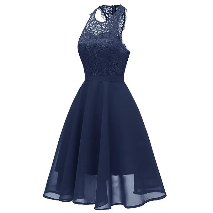 OHQ Vestidos Mujer Vintage Gasa Princesa Floral CóCtel De Encaje Aline Swing Vestido Vestir Ropa Falda