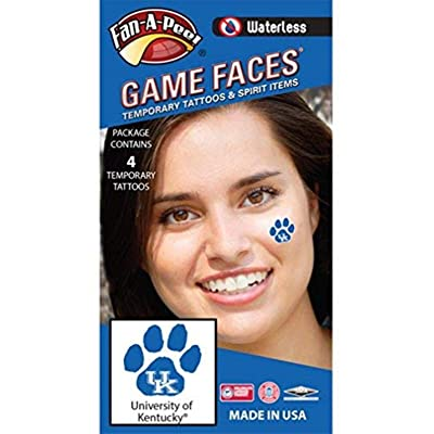 University of Kentucky (UK) Wildcats – Waterless Peel & Stick Temporary Spirit Tattoos – 4-Piece – White UK Logo on Blue Paw Print: Toys & Games [5Bkhe2006128]