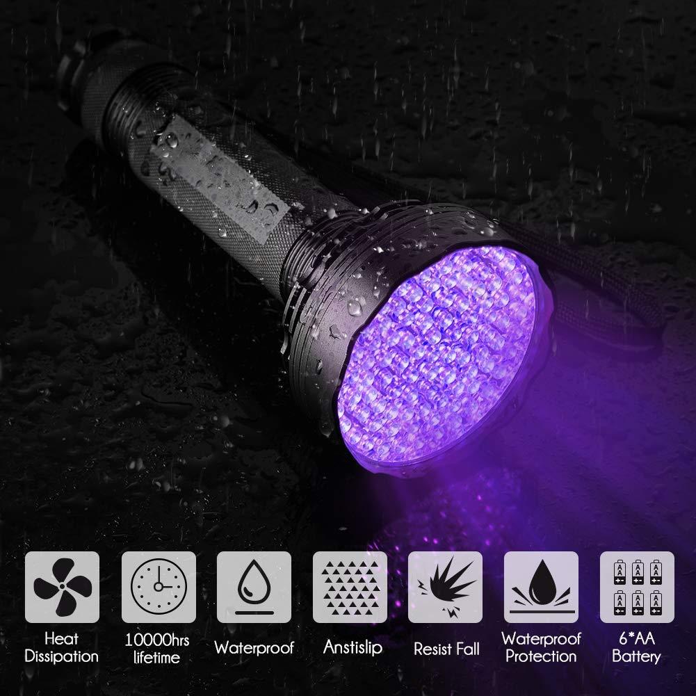 UV Flashlight Led Blacklight, Firstbuy Super Bright 100 LED Best Powerful Black Light Flashlight 395NM Ultraviolet Urine Detector Flashlight for Home & Hotel Inspection (New 100 LED Black Light)
