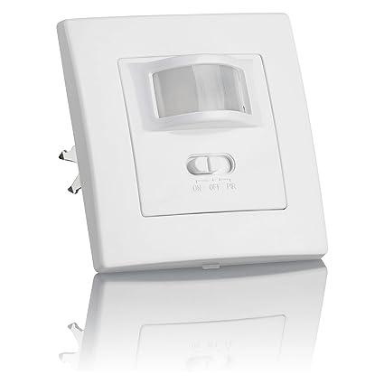 SEBSON® Detector de movimiento empotrable, interior, LED, montaje en pared, programable, sensor de infrarrojos, alcance 9m / 160°, max.