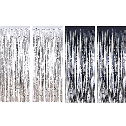 urtains Metallic Fringe Curtains Shimmer Curtain for Birthday Wedding Party Christmas Decorations (Silver and Black) (Shimmer Fringe)
