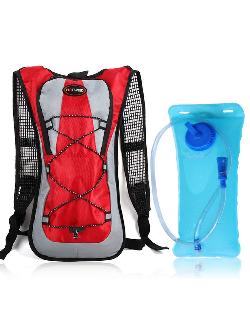 rouge and water sac  PDHD Sac à Dos Extérieur 5L Vélo Vélo Sac à Dos avec 2L Eau Vessie VTT Sports en Plein Air Sac à Dos Hydratation Sac d'eau
