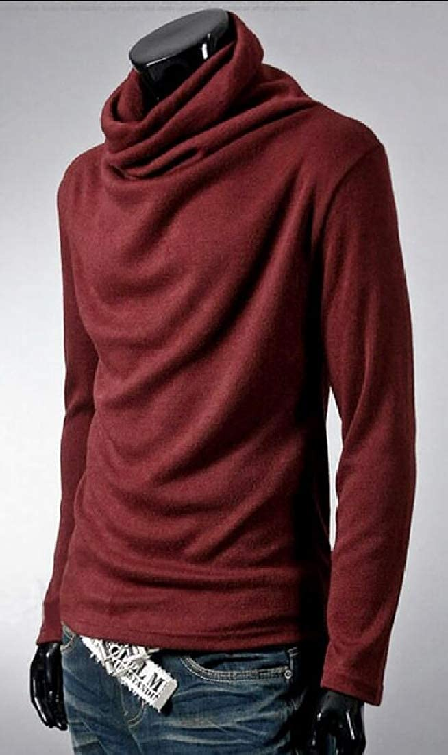 Yayu Mens Cowl Neck Pullover Hipster Casual Slim Fit Long Sleeve T Shirt Tops