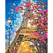 #LightningDeal DIY Painting by Numbers for Adults, Paint by Number Kit On Canvas for Beginners, New Painters, Gift Package from SEASON (Eiffel Tower)