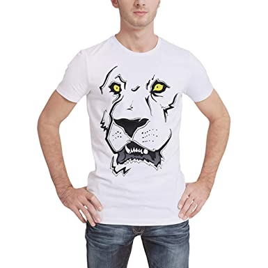 23a431c07ace Amazon.com  2019 Men s Spring Summer Fashion Personality Printing O-Neck  Casual Slim Fit Cotton Shirts Short Sleeve T-Shirt Top White  Clothing