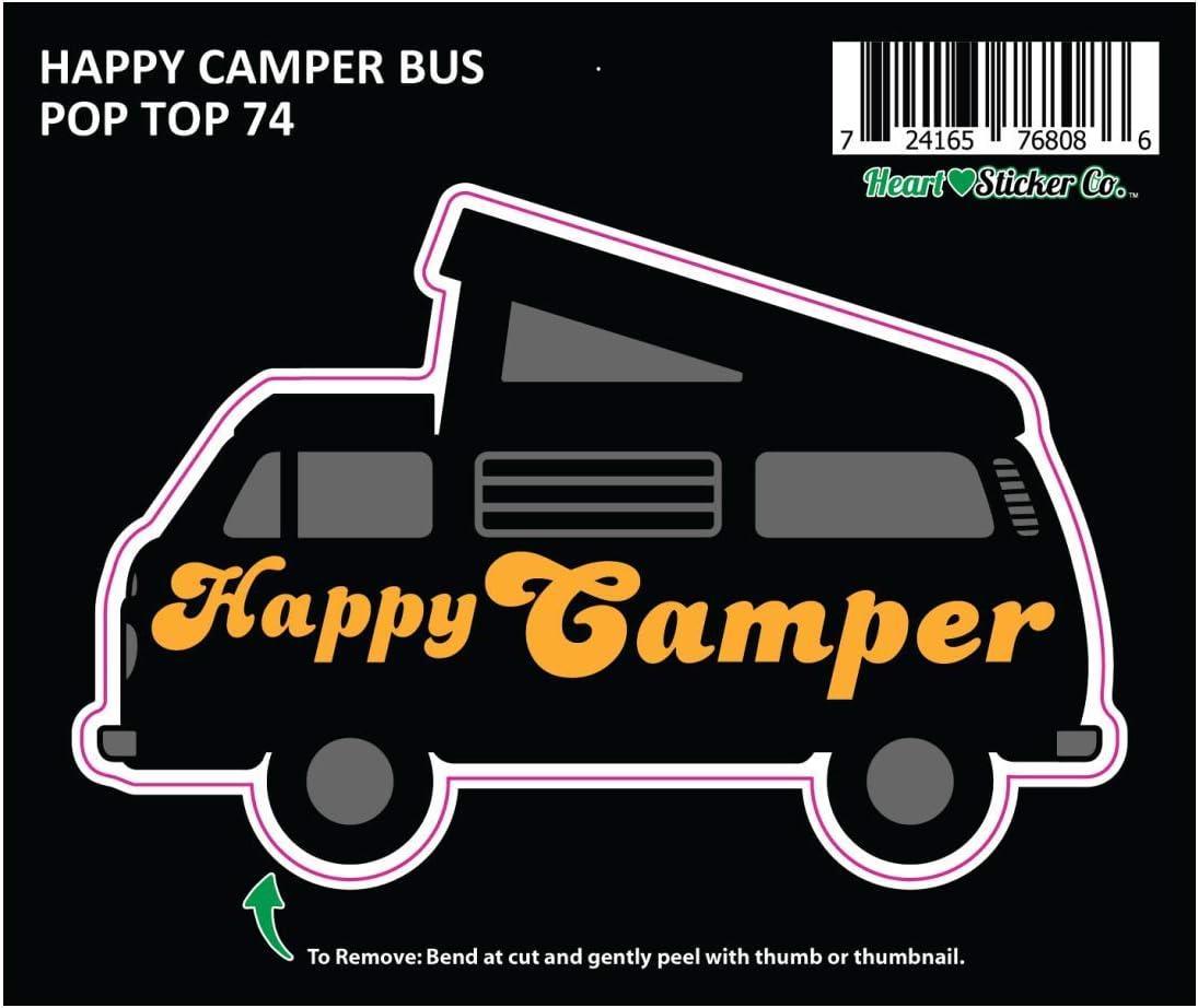 Car Truck RV Trailer Bus Window Bumper Wanderlust Overland Road Trip Adventure Westy Microbus Apply to Mug Phone Laptop Water Bottle Decal Cooler Bumper Pop-Top Microbus 74 Happy Camper Sticker