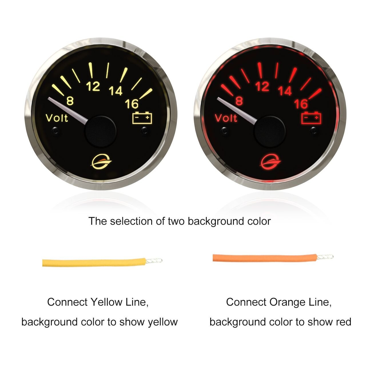 12v Electrical Voltmeter Gauge Meter 2 52mm Ip67 Basic Motorcycle Wiring Diagram Protection Rates Device Red Yellow Backlight Designed 8 16v Negative Ground Systems Install