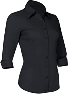 3a2a0039 Button Down Shirts for Women 3 4 Sleeve Fitted Dress Shirt and Blouses Work  Top